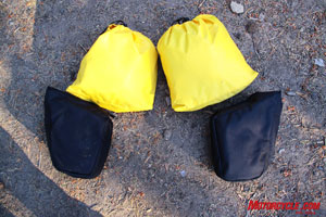 Specially contoured stuff sacks are included with the Great Basin Saddlebag, balance is key to a properly loaded motorcycle.