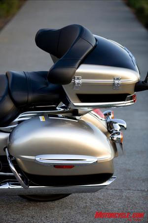 A touring motorcycle features very comfortable accommodations for a passenger.