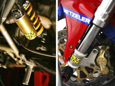 "Suspension is the most important part of a Supersport racer. No longer ""Showa"" or ""Ohlins,"" these components are now ""Race Tech."" (Photo by Holly Marcus)"