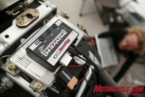 Dynojet's Power Commander III installs into the stock wiring harness in minutes and gives a full range of adjustability for fuel injected motorcycles. (Photo by Holly Marcus)