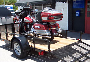 Motorcycle on Open Trailer