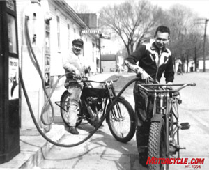 Bob and friend Jeff fill up two of Bob's bike, a 1909 Harley beltdrive and a 1914 1000cc Thor twin, seen here in a photo taken more than a half century ago.