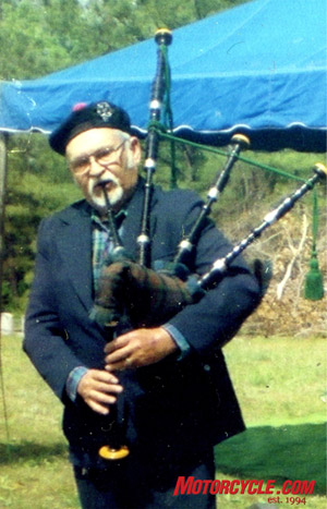 Bob is also an accomplished bag-pipe player, invited to play at a variety of events.