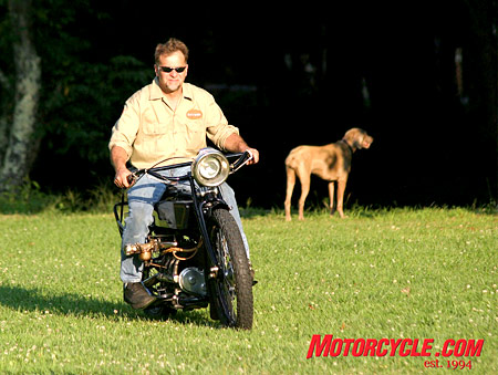 Dale Walksler rides the historic Henderson around the grounds of Wheels Through Time motorcycle museum, of which he is curator and founder.