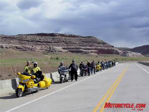 Guess this is a gathering of Gold Wing Road Riders. The other pic is the Riders feathery twins, the Red-billed Queleas.