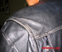 Here's a shot of Longride's trusty jacket before treatment with Leather Therapy.