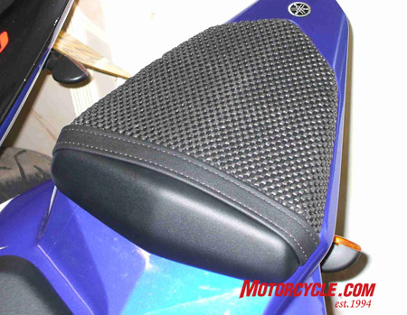 Triboseat for a Yamaha R6. First grippy tires, now a grippy seat. You'll never get rid of that annoying passenger.