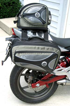 Givi's T438 saddlebag and matching T439 tail pack are constructed of heavy weight Cordura.