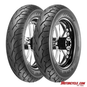Pirelli Night Dragon. Though the tread groove patterns appear identical, they're actually quite different, each optimized for stability as well as grip in both wet and dry environments.