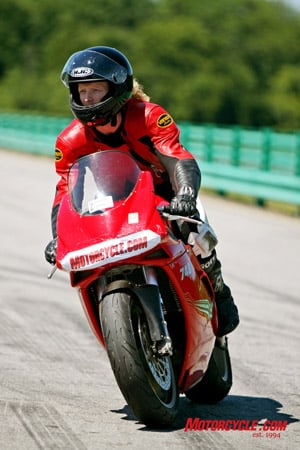 Riding on a race track for the first time for someone who has dreamed of it their whole life is an unbelieveable experience. It's also a shameless opportunity to promote Motorcycle.com when you tape off your headlight.