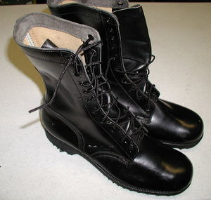 These are real combat boots. I have been told that my mother wore a pair. [Photo from http://www.mooremilitaria.com/
