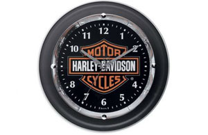 Harley-Davidson Chrome-Plated Bar & Shield Clock