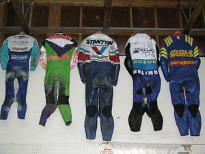 The Helimot showroom is a museum of celebrity racing leather.