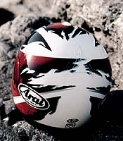 Arai's Signet/e features a pair of cool-looking vents on top, in addition to a pair of 'eyebrow' vents and a mouth vent.