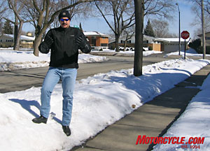Longride goes to such lengths for Motorcycle.com. This time he's been spending all his waking hours stuck to a snow bank to test some new gear from Harley. That tiny mound of snow to the right has been his office for months now.