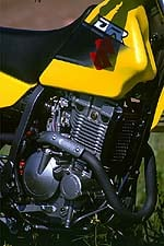 Though not particularly spunky, the Suzuki's 249 cc motor makes decent, controllable power.