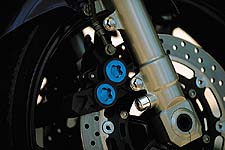 Brakes are straight off of the R1. Forks are fully adjustable 43 mm conventionals.