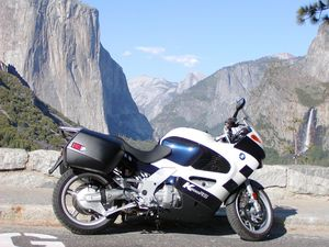 Front to back. BMW K1200RS, El Capitain, Bridalveil Falls, and Halfdome.