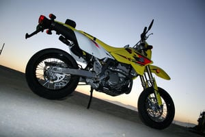 The DRZ400SM is a supermoto bike in any lighting.