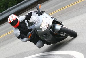 The K1200S prefers fast sweeping corners and feels a bit out of its element in tight/slow stuff like this 15MPH hairpin
