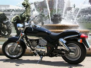 The fountain represents the tears of joy of prospective 250cc cruiser owners.