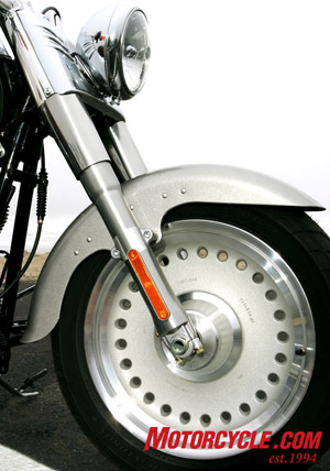 The new bullet-hole disc wheels add to the Fat Boy style.