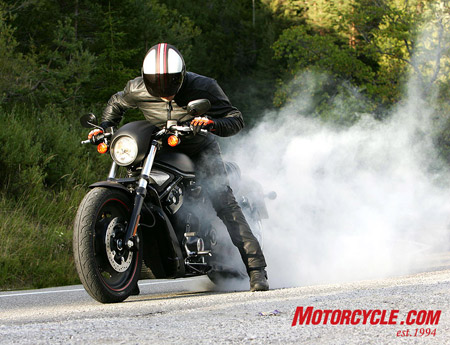 Starting a burnout is no trouble, but that enormous rear tire really likes to grip the road.