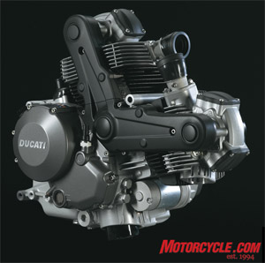 The heart of the Monster. A number of internal changes to the mill result in a claimed 80 hp and 51 ft-lbs, up by 7 and 6 respectively over the 695.