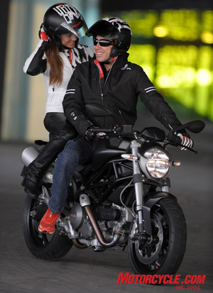 You'll be smiling too if you're buzzin' around on the new Monster 696, 'cause the ladies like 'em!