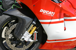 Forged-magnesium Marchesini wheels, Brembo monoblock brakes and a pressurized Ohlins fork. You can�t buy better stuff.