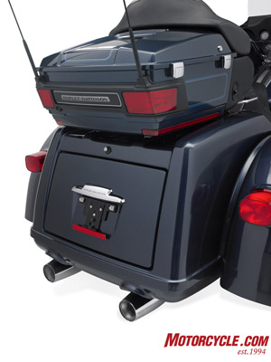 Rear storage area on the Tri Glide is good for 4.3 cubic feet of space and holds up to 50 pounds.