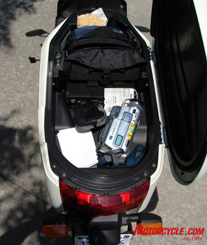 9 gallons of storage all together! See my video camera? Laptop? Rice Crispy treat? I can never turn down kids with a roadside stand.