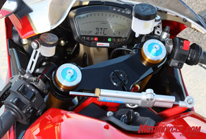 Ducati Traction Control, Level 1. There's little actual TC at this setting. The large toggle on the left switch gear scrolls through the various data on the racing dash. Accessing TC settings is a surprisingly easy process.