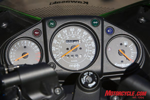 Most new riders needn't be concerned with engine temps, but running out of petrol might freak them out! Kawi did away with the temp gauge in favor of a very practical fuel gauge.