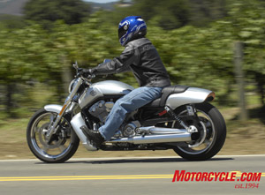 The rider triangle may get a bit stretched for those standing less than 5-feet 10-inches, but once the new V-Rod is in the curvy parts of the road the reach to the bars seems to disappear as does the heavy steering the bike exhibits at slower speeds.