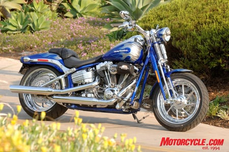 2009 CVO Springer Softail in Candy Cobalt with Blue Steel Flames.