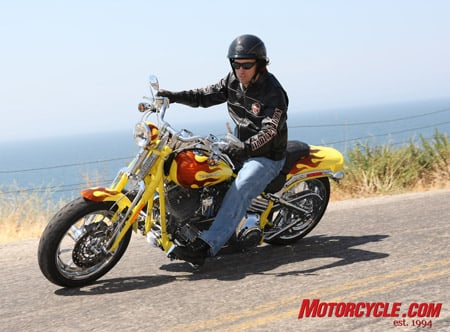 CVO Springer Softail in Sunrise Yellow Pearl with Volcanic Fury Flames.