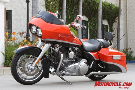 2009 CVO Road Glide in Electric Orange and Vivid Black.