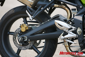 The frame and braced, aluminum swingarm comes straight from the Daytona 675.