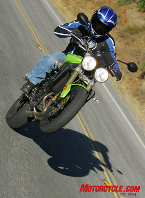 Woooo, yeah! Easy front-end lifts are a hallmark of this hooligan-making motorcycle.