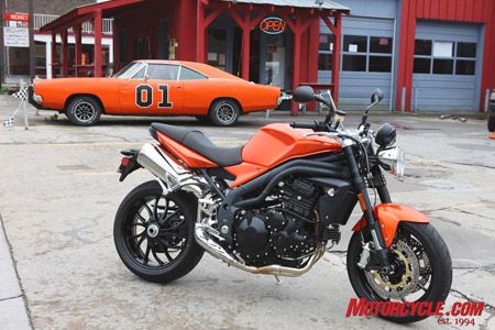 If the Speed Triple had a four-wheeled American cousin, it might be the General Lee.