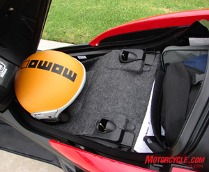 Here you can see that the under seat storage is actually two tiers. Your helmet fits under the rider's seat...