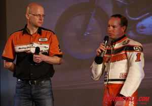 Scott Parker (in the leathers) is a 9-time AMA flat-track champion.
