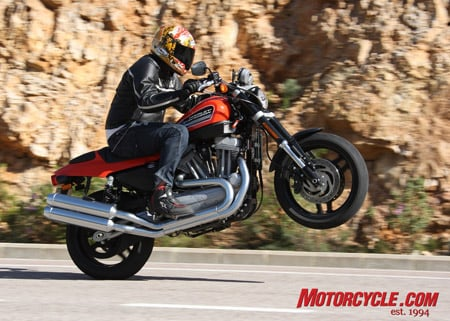 The 2008 Harley-Davidson XR1200 is a step in the right direction toward true hooliganism for the American bike maker as Tor implies in this photo.