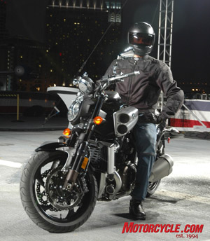 Star Motorcycles unveiled the long-awaited 2009 Yamaha V-Max on the flight deck of the USS Midway last night. The man in black is Yamaha test rider Mike Ulrich, who's one of the few people to have ridden it so far. 'It's no R1,' he admitted to us, 'but it corners a lot better than the old one.'