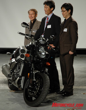 Atsushi Ichijo, who designed the original V-Max, along with project leader Mr. Nakaaki and the designer of the new bike, Mr. Umemoto.