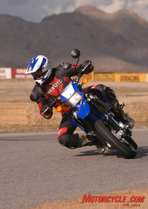 Bridgestone's BT090 radial tires fitted to the 17-inch wheels on the WR250X provide ample grip.
