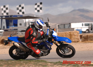 The WR250X is great fun for recreational Supermoto track time.