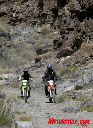 The rocky trails of Death Valley's Echo Canyon can be unforgiving if not ridden with respect. I speak from experience.