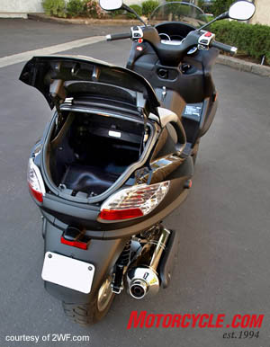 The rear trunk is big enough to hold two helmets – or perhaps a mini-keg of beer if the situation calls for it.